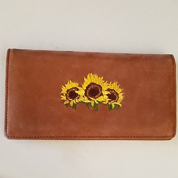 checks Accessories - New leather embroidered sunflower checkbook wallet